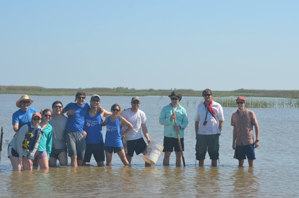 The group on the Mississippi delta trip, taken down one of the distributary channels of Cubit's Gap.